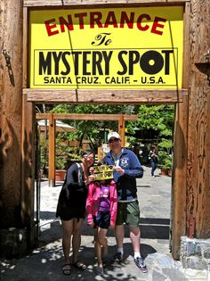 Humorous family photo at the Mystery Spot attraction in Santa Cruz, California   Things to do with kids in the San Francisco Bay Area