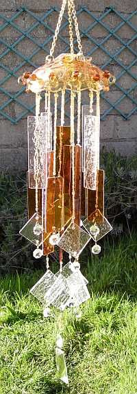 amber and clear stained glass wind chime