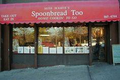 Miss Mamie's Spoonbread Too   366 W 110th Street, NYC   212-865-6744  Sun: 11am - 9:30pm  Mon-Thu: 12pm - 10pm  Fri - Sat: 12pm to 11pm