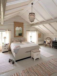 Attic Remodel Plans Source by The post Finished Attic Design appeared first on Rosa Home Decor. Attic Master Bedroom, Attic Bedroom Designs, Attic Bedrooms, Attic Design, Bedroom Loft, Master Bedroom Design, White Bedroom, Attic Bathroom, Extra Bedroom