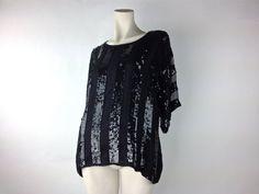 80's 90's Sequin Silk Sheer Stripe Avant Garde Oversize Kimono Sleeve Top by FeelingVagueVintage