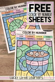 LP-Free Color By Number Sheets - Lucky Little Learners Subtraction Activities, Math Games, Math Activities, Numeracy, Learning Games, Math Worksheets, Second Grade Math, Grade 2, 2nd Grade Homework