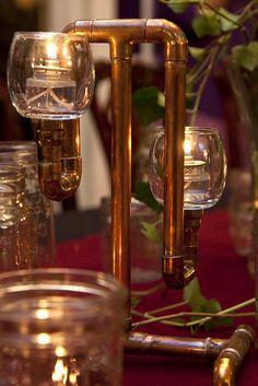 Wedding Centerpiece - Cool Steampunk copper tubing candelabra