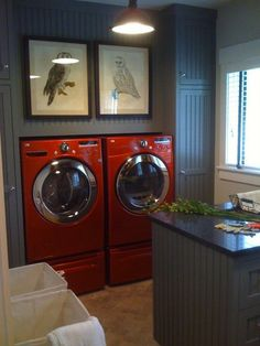 gray laundry rooms RED LG steam washer and dryer. Got them on deep discount at Sears. This is not our laundry room. Laundry Room Colors, Laundry Room Design, Laundry Rooms, Basement Laundry, Laundry Area, Laundry Closet, Laundry Storage, Red Washer And Dryer, Red Appliances