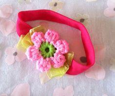 Girls' Easter Headband, Crocheted Flower, Soft Stretch Knit Headband, Hot Pink Band, Pink Flower  Atop a Ribbon Bow, Gift For Girl $4.25 #Etsy #EtsyRMP