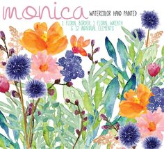 A personal favorite from my Etsy shop https://www.etsy.com/es/listing/236201523/flores-en-acuarela-clipart-png-pintadas