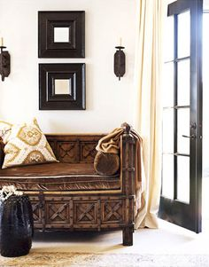 Solid timber & brown leather day bed. Gorgeous global styling.