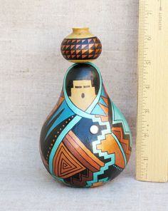 Southwestern Hand Painted Gourd Pot Woman Figurine Geometric