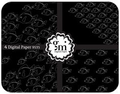Fishes Digital Paper, Fish Paper, Fish Pattern, Sea Digital Paper, Digital Background Paper, Black Digital Paper - pinned by pin4etsy.com
