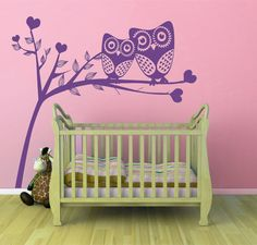 Owls in a Tree, Hearts - Matt Vinyl Wall Art Sticker Decal Mural  16 colours to choose from, see picture on this listing.  TOTAL size of the sticker by width and height, for wall measurement. 4 x sizes available:  80cm wide x 74.5cm high, 100cm wide x 93cm high, 120cm wide x 111.9cm high & 140cm wide x 130.3cm high (comes in 2/3 x parts to re-assemble on your wall). We strongly suggest measuring out the dimensions on your wall space prior to ordering so as to properly gauge the fini...