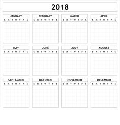 Print Free Blank Calendar 2018 Template with Notes Section. We've also provided Editable Holidays Calendar Template PDF 2018 to create custom calendars. Printable Yearly Calendar, Daily Calendar Template, Make A Calendar, Printable Blank Calendar, Kids Calendar, Calendar 2018, Calendar Ideas, Google Calendar, Notes