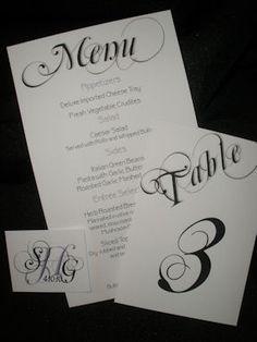 Menu, table number and escort card