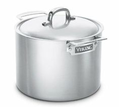 Viking VSC0708  8 Quart Stainless Steel Stock Pot by Viking Range Corporation. $289.95. Domed lid minimizes dripping and utilizes a high-clearance handle for safety.. 5 ply construction, 18/10 stainless steel interior and exterior. Hand wash with mild cleanser and non-abrasive brush recommended, but dishwasher safe, too. Aluminum core for even heat distribution. Can be used on any cooking surface, including induction. Viking professional cookware products are manuf...