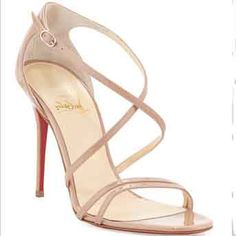 Christian Louboutin Gwynitta 100mm Nude Leather Crisscross Sandals Strap