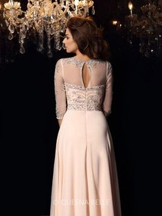 A-Line/Princess Scoop Chiffon 3/4 Sleeves Beading Floor-Length Dresses - Prom Dresses - Occasion Dresses - QueenaBelle.com