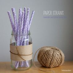 light purple swiss dot paper straws
