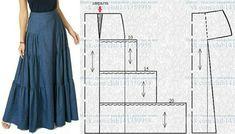Pin on long skirt Girl Dress Patterns, Skirt Patterns Sewing, Blouse Patterns, Clothing Patterns, Skirt Sewing, Coat Patterns, Fashion Sewing, Diy Fashion, Fashion Hair