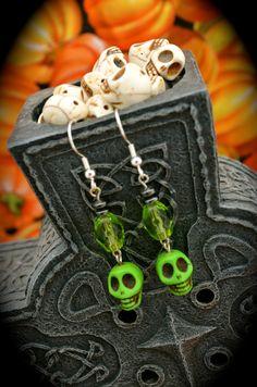 green ceramic skulls peridot colored glass by aimeeNandysEarrings, $12.00