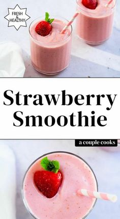 Here's the most perfect strawberry smoothie you'll find! It's easy to blend up and has the best creamy texture and fruity flavor. #strawberrysmoothie #strawberry #banana #smoothie #strawberrybanana #smoothie #plantbasedsmoothie #healthy #healthysmoothie