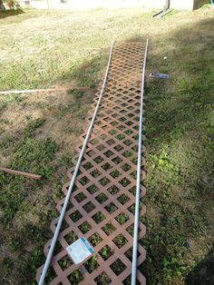PVC and lattice garden arbor. For those who don't have technical skills or the patience to draw plans.