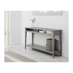 LIATORP Sofa table, gray, glass gray/glass 52 3/8x14 5/8