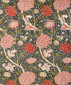 This design by William Morris is cluttered and busy depicting a consistent/repeated pattern of flowers such as chrysanthemums. Morris has used complementary colours of muted reds and pink for the flowers and a dark blue background which sets off the colours of the flowers. The curved lines of the petals and stems allow the eye to flow smoothly around the design. The petals and leaves of the flowers are surrounded by pale lines which draw the eye to them in order for them to stand out as a…