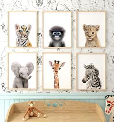 Baby Safari Animals Set of 6 Printable Art - Baby Safari Animals Set of 6 Printable Art Safari Animal Prints – Nursery baby animal art from - Baby Room Boy, Baby Room Decor, Nursery Decor, Nursery Ideas, Safari Nursery Themes, Jungle Theme Nursery, Nursery Room, Safari Bedroom, Nursery Prints