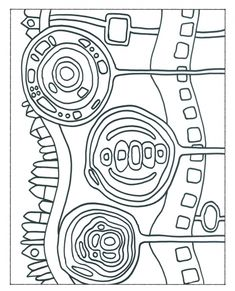 Hundertwasser Coloring Page Friedensreich Hundertwasser, Primary School Art, Elementary Art, Art Sub Lessons, Art Sub Plans, Art Handouts, Motif Art Deco, Art Worksheets, Ecole Art