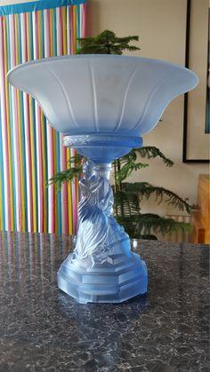 Lovely Vintage Czech Deco Vase Frosted Glass Semi-nude Dancing Women Pottery & Glass Bohemian/czech