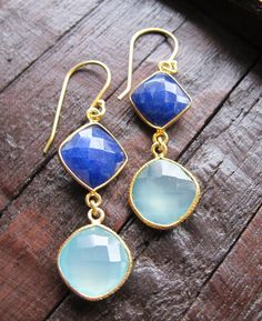 Great combination of Blues! Blue Lapis Earrings Gold Gemstone Earrings Dangle by Belesas, $48.99