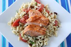 Gojee - Broiled Salmon with Orzo Salad by Judicial Peach