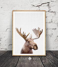 Moose Head Print Woodlands Decor Nursery Printable by LILAxLOLA
