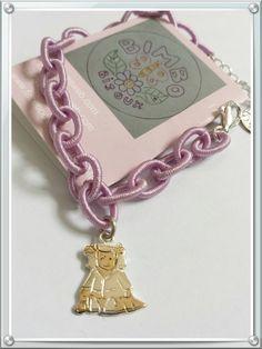 bracciale in seta lilla con chiusura in argento 925 e ciondolo bambola