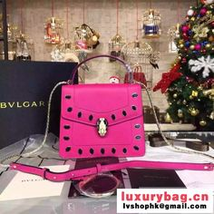 Bvlgari Scaglie Studs Serpenti Forever Flap Cover Bag With Handle Rosy 20cm 2016 (BGJ-6012902 )