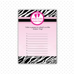 INSTANT DOWNLOAD Hot Pink Baby Feet Whats In The Diaper Bag Card - Zebra Baby Shower Games Baby Shower Party Games Party Activities Baby Shower Party Games, Baby Zebra, Party Activities, Baby Feet, Diaper Bag, Hot Pink, Projects To Try, Handmade Gifts, Cards