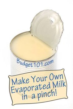 Learn how to Make your Own Evaporated Milk- if you're in the middle of a recipe & you've run out- here's a simple trick to myo!