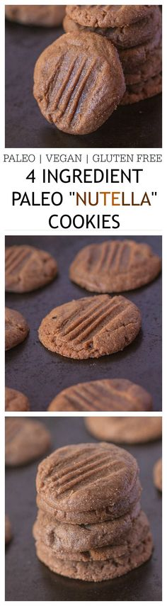 "Healthy 4 Ingredient Paleo ""Nutella"" Cookies- Just FOUR ingredients, 12 minutes and 1 bowl. {vegan, gluten free, paleo}"