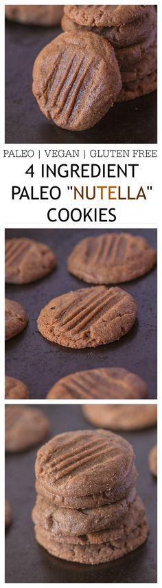 """Healthy 4 Ingredient Paleo """"Nutella"""" Cookies #healthy #paleo #cookies"""