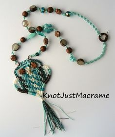 Multi Color Micro Macrame Macrame Owl Pendant Necklace with Natural Beads Teal Turquoise Brown