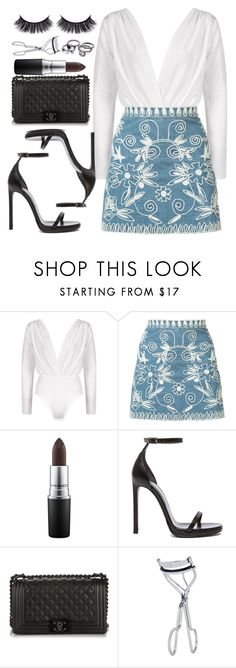 """Sem título #365"" by mika-3 ❤ liked on Polyvore featuring Boohoo, Alice + Olivia, MAC Cosmetics, Yves Saint Laurent, Chanel and BBrowBar"