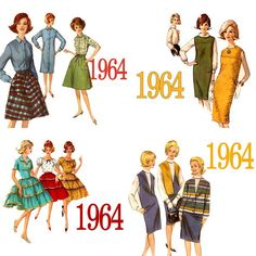 Patterns of 1964 when women made most of their clothes----Wow! I made the dark olive green sheath in a nubby weaved fabric and wore my white turtleneck. 60s And 70s Fashion, 60 Fashion, Vintage Fashion, Fashion Trends, Fashion History, Vintage Outfits, Vintage Dresses, 1960s Outfits, Vintage Clothing