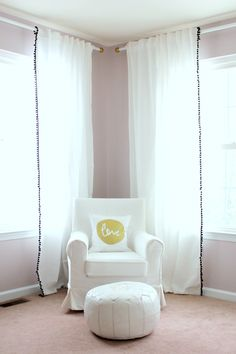 Loving the white-on-white-on-white nursery corner.