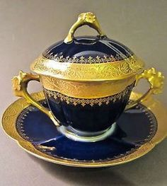 W. GUERIN LIMOGES Porcelain Cobalt Blue Gold Gilt Covered…