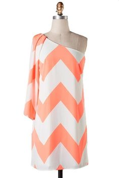 Such Great Heights One Shoulder Chevron Dress - Neon Coral - $44.00 | Daily Chic Dresses | International Shipping