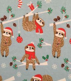 "Doodles Christmas Interlock Cotton Fabric 57""-Holiday Sloth Christmas Sloth, Christmas 2019, Christmas Design, All Things Christmas, Christmas Cards, Xmas, Christmas Decorations, Christmas Inspiration, Cute Sloth"