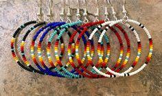 5 pair Native American style Beaded Hoop Earrings