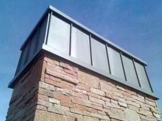 Chimney cap using standing seam roofing to match the roof. Zinc Roof, Metal Roof, Standing Seam Roof, Chimney Cap, Park City, Exterior, Outdoor Decor, Wall, Fireplaces
