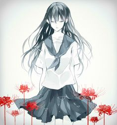 monochrome anime girl with red flowers