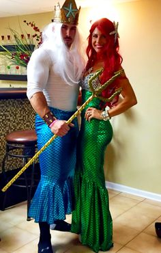 King Triton and Ariel Costume Halloween Little Mermaid