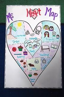 Creative Social Worker — Heart Maps: This is a simple rapport building. Project Finance, 1st Grade Writing, Teaching Writing, Teaching Tools, Fallout 3, Beginning Of School, First Day Of School, School Days, Heart Map Writing